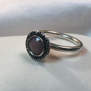 Pandora pink opal silver ring
